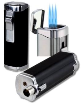 3fach-Jet Zigarrenfeuerzeug - Bohrer Schnappmechanik Eurojet schwarz -