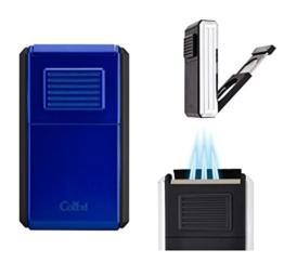 Colibri Zigarrenfeuerzeug Astoria blau-schwarz höhensicher bis 2750 Meter inkl. Lifestyle-Ambiente Tastingbogen -