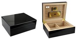 """GERMANUS """"Prandium"""" Premium Zigarren Humidor mit Digital Hygrometer in Schwarz für ca. 100 Zigarren -"""