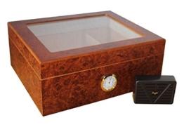 Humidor fuer 50 Zigarren Glasdeckel Aussenhygrometer -