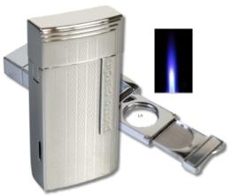 Pierre Cardin Chamonix Zigarren-Feuerzeug chrom inkl. Lifestyle-Ambiente Tastingbogen -