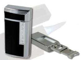 Pierre Cardin Chamonix Zigarren-Feuerzeug chrom-schwarz -